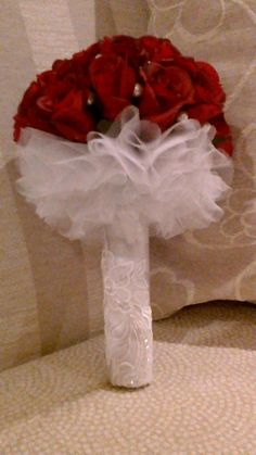 real touch roses with lace, pearls and tule
