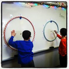 Mr. First Grade used hoola hoops for Racing Around the Clock