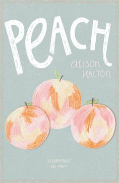 a great book cover of hand drawn and cut out peaches. seems like it would make a great DIY wall art!