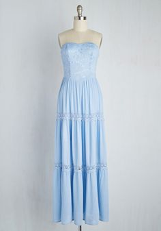 Beach Poise Dress in Sky. Your sense of aplomb and your retro tunes are already on lock, now just add this strapless maxi - dancing seaside never looked so good! #blue #modcloth