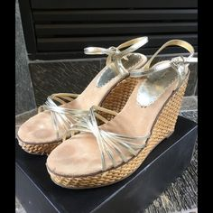 Michael Antonio Ramsey Gold Wedge Heels Size 7.5 Gently worn! Michael Antonio Ramsey gold wedges size 7.5. These are beautiful wedges with a braided wicker style wedge. The uppers and wedges are in great condition with minimal wear as seen in photos. Heel is 4.5 inches with a 1.5 inch platform in the front.  Perfect for all of your summer outfits. No box Michael Antonio Shoes Wedges