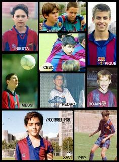 Graduates of the FC Barcelona academy: Initesta, Valdes, Reina, Pique, Cesc, Messi, Pedro, Bojan, Xavi, Guardiola