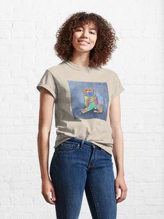 """kooky knitting kitty"" T-shirt by grumblebeeart | Redbubble Plus And Minus, Mothers Day Shirts, Coffee And Books, Tshirt Colors, Female Models, Chiffon Tops, Classic T Shirts, Shirt Designs, Beautiful Women"