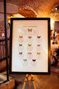 Butterflies seating plan. From http://www.lovemydress.net/blog/2014/01/velvet-jacket-cornish-coastline-cornwall-wedding.html