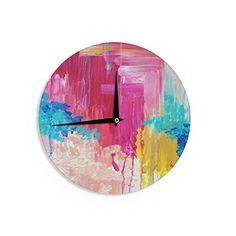 Kess InHouse Iris Lehnhardt Water Droplets Blue Teal Wall Clock 12