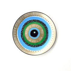 Green Eye Eye - Mandala Decor - Evil Eye Art - Decorative Plate - Wall Decor - Plate Art - Evil Eye Plate - Evil Eye Porcelain - Wall Art