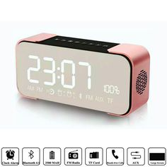 A new portable Bluetooth speaker for you! The special cylindrical design with a shoulder strap makes you can carry with it just like a bag. Cute Alarm Clock, Led Alarm Clock, Rose Gold Room Decor, Rose Gold Rooms, Cute Room Decor, Gold Bedroom, Room Ideas Bedroom, Home Room Design, Room Accessories