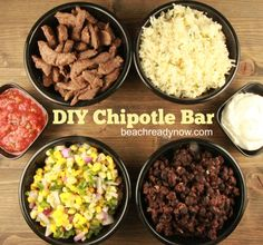 Copycat Chipotle Recipes - DIY Chipotle Bar l, corn salsa recipe, steak rub Burrito Bar, Burrito Bowls, Steaks, Chipotle Bowl, Chipotle Corn Salsa, Chipotle Copycat Recipes, Homemade Chipotle, Homemade Food, Gourmet