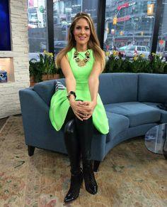 Thursday, March 27th   Dina's outfit included: Ted Baker London Neon Dress $295.00 Hudson's Bay Black and Gold Bracelet $25.00 Marciano Jet Black Leggings $178.00 Banana Republic Black and Gold Leopard Bracelet $50.00 Le Chateau Black Square Stone Ring $19.95 Gold and Black Statement Necklace $55.00 French Connection Black Cut Out Ankle Bootie $168.00 (previous season)