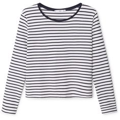 Striped T-Shirt ($38) ❤ liked on Polyvore featuring tops, t-shirts, longsleeve tee, long sleeve tops, round top, striped top and long sleeve t shirt