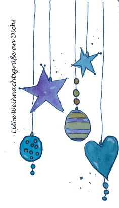 Christmas card balls and stars - Weihnachten - noel Christmas Card Template, Merry Christmas Card, Xmas Cards, Christmas Art, Holiday Cards, Christmas Decorations, Watercolor Christmas Cards, Christmas Drawing, Watercolor Cards
