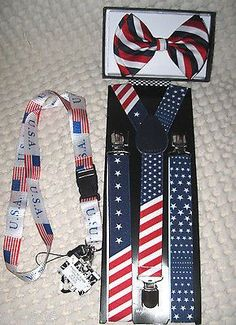 US Flag American Flag Suspenders,Lanyard,and Red,White,Blue Stripes Bow Tie-New