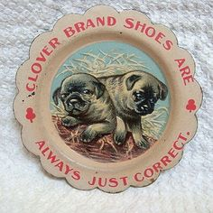 vintage pug post cards | Vintage Pug Dog Plate-Shoe Advertising from yannisantiques on Ruby ...