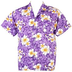 Hawaiian Aloha Shirt Hibiscus Chaba Beach Party ISLE Purple L hc221v