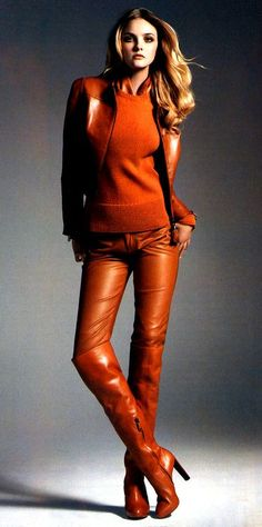 Copper leather pants