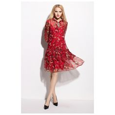 Red Floral Print Chiffon Dress With 3/4 Length Sleeves