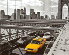 Yellow Cab on Brooklyn Bridge Print by Henri Silberman at Art.com