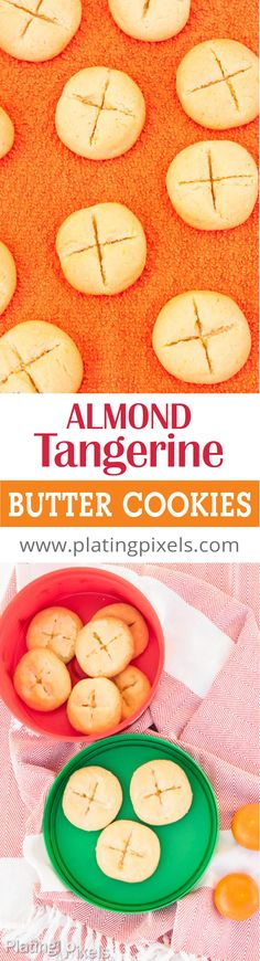 Almond Tangerine Butter Cookies by Plating Pixels. Sweet and slightly tangy with a smooth citrus finish. Almond extract and tangerine zest. Cornmeal adds a slight crunch. The perfect Christmas Cookies - www.platingpixels.com