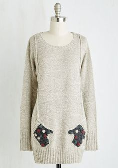 Mitten Accomplished Sweater - Long, Knit, Grey, Solid, Patch, Pockets, Poms, Quirky, Long Sleeve, Winter, Best, Crew