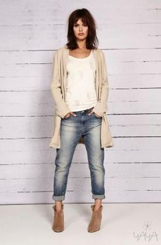 #cardigan #neutral #oversized #ankle boots by Ann Z