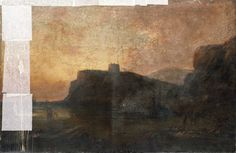 "Oil painting from the Fine Art collection. ""Martello Tower"" by Richard Henry Nibbs, showing a red and yellow sunset with sea and beach on the left."