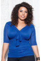 Melrose Mesh Top in Cobalt Blue