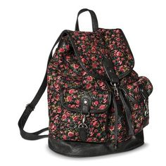 Mossimo Supply Co. Floral Backpack Handbag - Black I'm getting this for the new school year Floral Backpack, Backpack Purse, Fashion Backpack, Cute Backpacks, Girl Backpacks, Black Handbags, Purses And Handbags, College Wardrobe, Back To School Backpacks