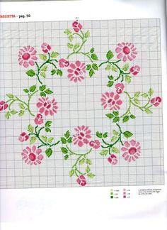 Kanaviçe çiçek masa örtüsü