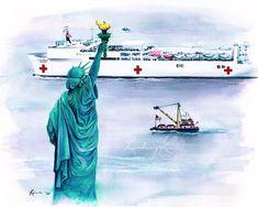 Usns Comfort Art Us Navy Ship Art Statue Of Liberty Art American Pride Painting Patriotic Art New York City Art Beacon Of Hope In 2020 City Art Statue Of Liberty Hope Art