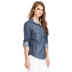 Dailylook Polka Dot Chambray button down Shirt The shirt is new with tags and is the same one as modeled in the picture. It's size small but fits big like a medium, so runs larger in size! Dailylook Tops Button Down Shirts
