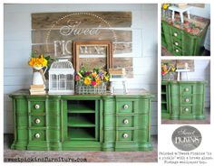"""Painted with Sweet Pickins Milk Paint """"in a pickle"""" with a brown glaze and vintage wallpaper on the top!"""