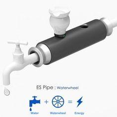 Ryan Jongwoo Choi, ES Pipe Waterwheel, hydroelectricity, turbines, water turbines, waterwheels, piezoelectricity, hydro power,