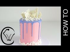 Cotton Candy Flavoured Tall Drip Cake How To by Cupcake Savvy's Kitchen - YouTube
