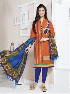 Orange Formal Chanderi Suit