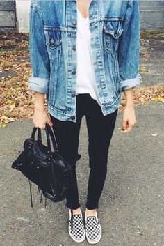 checkered slip ons, black jeans, a white tee and a denim jacket