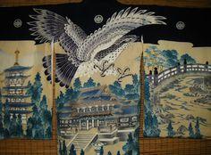 ART Japanese Boys Vintage Silk Kimono,Blue Ceremonial Silk Kimono,Handpainted Falcon Shrine Bridge Kimono, Japanese Wall Art Decor Kimono