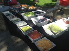 Taco bar. Seriously thinking of doing this for the wedding reception.  Simple yet tasty