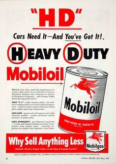1952 Ad Heavy Duty Mobiloil Anti-Acid Motor Oil Automotive Magnolia YMA1