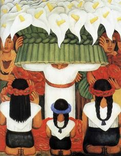 1931 The Feast of Flowers, Diego Rivera.  A lot of Rivera's work was focused on labor and hard work.