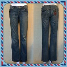 "Citizens of Humanity Peace Kelly Bootcut Excellent condition Citizens of Humanity Kelly Bootcut Peace slightly distressed jeans.  The crotch area is in excellent condition, as well. Fabric: 99% cotton / 1% polyurethane  Approx Measurements: Waist: 32 1/2"" Hips: 37 1/2"" ish Inseam: 31 1/2"" Outer seam from waist: 39"" Front rise from inseam: 7"" Rear rise from inseam: 13"" Citizens of Humanity Jeans"