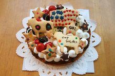 パパのお仕事でアメリカに行くというお友達にプレゼントするケーキ