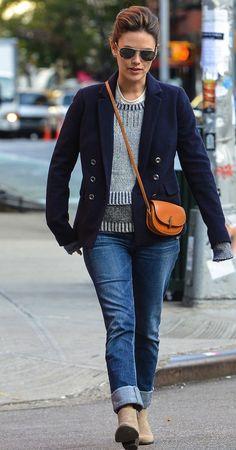 crossover + blazer over sweater