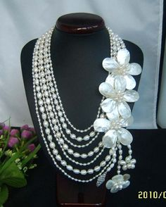 bridesmaid gift Bead NecklaceBeaded JewelryPearl by audreyjewelry, $39.00