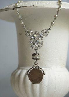 Abundant Blessings-Vintage assemblage necklace with watch fob locket, vintage rhinestones and faux pearl chain by frenchfeatherdesigns