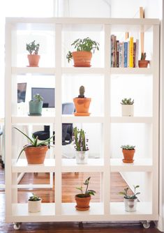 shelving with wheels makes a great room divider / before & after on the west elm's blog