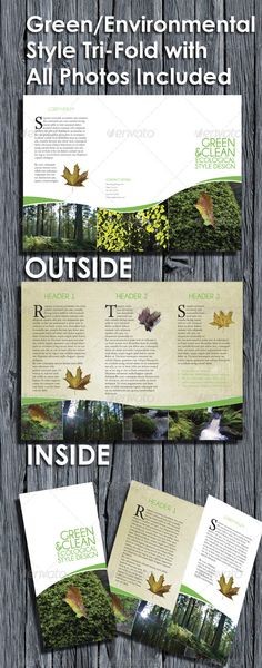 Buy Environmental Style Tri Fold Brochure by RCLEWIS on GraphicRiver. A green, environmental style tri fold brochure. Indesign Brochure Templates, Free Brochure, Travel Brochure Template, Creative Brochure, Brochure Layout, Brochure Design, Flyer Design, Corporate Brochure, Design Design