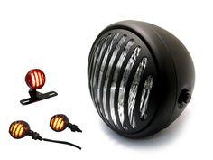 Retro Matt Black Custom Motorcycle Headlight – Prison Style