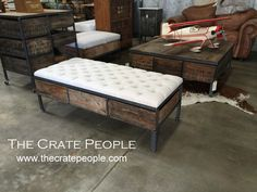Vintage Nubby Grain Sack Tufted Ottoman With Tongue Groove Gray Barn Wood Shelf And Lofts