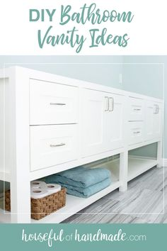 Bathroom renovations can be expensive. So most people put off the bathroom of their dreams for too long. But you can update your old bathroom without spending all your money with one of these DIY Bathroom Vanity Ideas. #Bathrooms #BathroomDesign #BathroomVanities