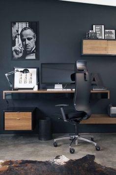 Home Office Setup, Cool Office, Desk Setup, Home Office Design, Minimal Desk, Clean Desk, Bedroom Setup, Bedroom Furniture Design, Black Walls